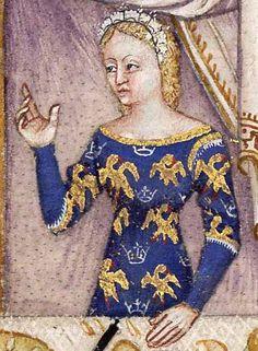 """Итальянские миниатюры конца XIV века радуют взор изяществом линий и прорисовкой деталей костюмов и самого текстиля. В этой сцене куртуазного обеда Ланселота и прекрасной дамы из """"Ланселота Озерного"""" (BNF Français 343) хорошо читаются итальянские шелка. С легкостью узнается и знаменитый перуджианский столовый текстиль - скатерть с синими узорчатыми бордюрами."""