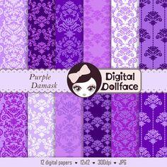 Purple Damask Digital Paper, Floral Lavender Scrapbook Paper, Printable