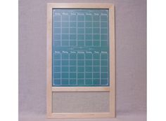 "Custom Framed Dry Erase/Fabric Board Command Center - Two Month Green ""Chalkboard"" Calendar w/ Wheat Burlap Fabric Bulletin Board"