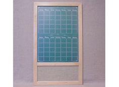 "Custom Framed Dry Erase/Fabric Board Command Center - Two Month Green ""Chalkboard"" Calendar w/ Wheat Burlap Fabric Bulletin Board"
