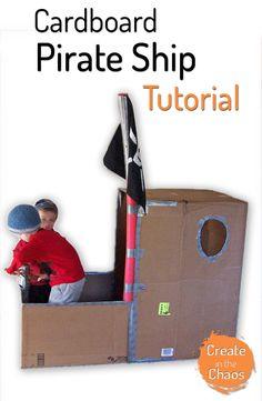 Simple cardboard pirate ship tutorial www.createinthechaos.com
