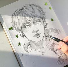 By _su_art kpop drawings, k pop, kpop fanart, bts jungkook, bts memes Kpop Fanart, Fan Art, Kpop Drawings, K Pop, Bts Wallpaper, Art Inspo, Art Reference, Art Sketches, Bts Jungkook