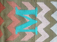 Burlap and inexpensive paint. To be framed #chevron #DIY