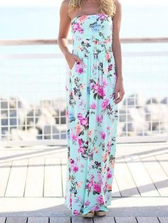Chicnico Go Lucky Bohemian Style Chic Floral Print Blue Dress