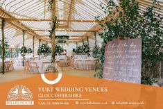 Hand-built by a local craftsman, The unique Hilles House Palace Yurt seats up to 250 wedding reception guests and provides stunning views across 5 counties.