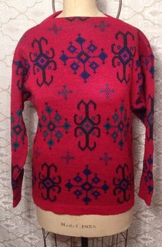 Original Iceland Red Sweater Made in Sweden Jersey Modeller Hans Heitsch #Wool #JerseyModeller #BoatNeck