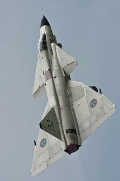 ♠ SAAB JA 37 Viggen #Aviation #Military #Jet if they 'patched' 2 swedish jets onto rockets, maybe its one way to get swedish jets anywhere on the planet fast, after in theater operations are completed, then it comes down to good swedish diplomacy with local country's airports in the area