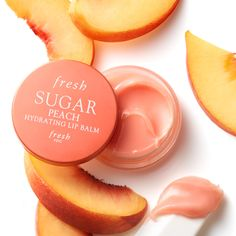 Fresh Sugar Peach Hydrating Lip Balm is a peach and cream flavored natural lip balm that delivers nonstop moisture and a smooth natural shine Hydrating Lip Balm, Lip Moisturizer, Facial Cleanser, Beauty Care, Beauty Skin, Beauty Hacks, Fresh Lip, Fresh Sugar Lip Balm, Fresh Fresh