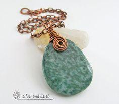 Green Jasper Necklace Natural Stone Necklace by SilverandEarth