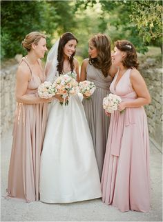 As seen on Style Me Pretty, this beautiful bride and her maids look gorgeous on this wedding day! The maids are wearing twobirds rosewater, putty, and blush multiway dresses. Photography by, Greg Finck. Two Birds Bridesmaid, Wedding Bridesmaids, Bridesmaid Dresses, Wedding Dresses, Bridesmaid Inspiration, Wedding Inspiration, Wedding Ideas, Wedding Pictures, Wedding Decorations
