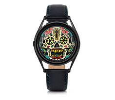 The time on this watch is displayed on the skull's teeth - the two front teeth show the hours while the lower jaw shows the minutes. The watch is a link to the tradition of the memento mori - an object designed to remind us that life is brief and we should seize the moment while we're here.