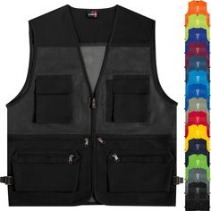 e773d21bac6 Details about Multi Pockets Mesh Vest Sleeveless Fishing Hunting Travel  Work Waistcoat No.410