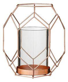 Copper Metal Geometric Stand with Glass Candle Holder x x Copper Candle Holders, Votive Holder, Candles And Candleholders, Candlesticks, Copper Home Accessories, Deco Originale, Decoration Originale, Hurricane Lamps, Glass Votive