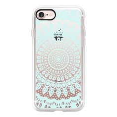Tribal Boho Mandala in Teal // Crystal Clear Phone Case - iPhone 7... (755 MXN) ❤ liked on Polyvore featuring accessories, tech accessories, iphone case, slim iphone case, apple iphone cases, iphone tribal case, iphone cases and teal iphone case