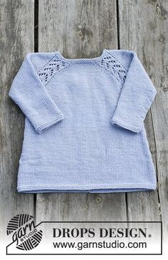 Tunic with raglan and lace pattern, worked top down for kids. Size 2 - 12 years Piece is knitted in DROPS Karisma.