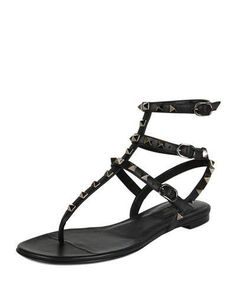 S0C76 Valentino Rockstud Leather Gladiator Sandal, Black