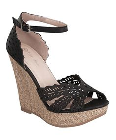 52724a7ac555 Look what I found on  zulily! Black Legend Wedge by TOP MODA  zulilyfinds