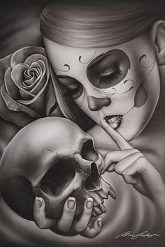 Hasta La Muerte by Spider Tattoo Death Mask Woman Art Giclee Print