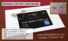 Reindeer Clips Gift Card Enclosure, Stampin' Up!, Brian King