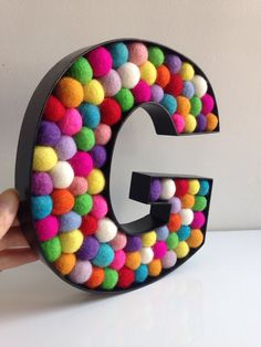 Kids Room Decorative Letter G. Felt Ball Free Standing Letters. Wall Letter G. Monogrammed Initial.