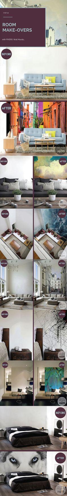 TOP 10 Best Room Make-Overs with Wall Murals <3 www.pixersize.com