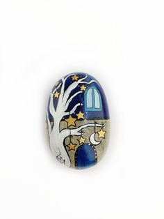 Starry night paperweight handpainted stone house by Mammabook