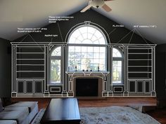 TRIM DETAIL – How to bring out your home's character with trim. Just booked this job in Point Pleasant, New Jersey Our team is very excited to be working on this Fireplace Mantle and Bookcase complemented with pillars, crown and many details that will come alive in few weeks. You can have something special at your home too. We would like to make your home distinctive.