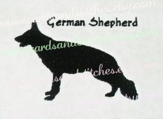 "German Shepherd Embroidery - Dog Breed Silhouette - Machine Embroidery - Instant Download - Two Hoop Sizes 4""x4"" and 5""x7"" - Seven Formats by cardsandstitches on Etsy"