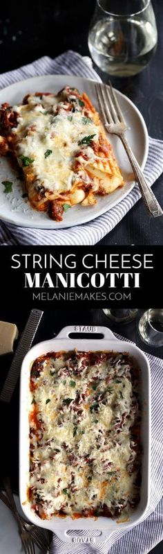 String Cheese Manicotti is hands down the easiest way to fill manicotti! Two pieces of string cheese are stuffed into each pasta tube before being covered with a meaty marinara sauce. It's all then covered in another blanket of mozzarella cheese and baked until bubbly. A garnish of chopped parsley and a shower of Parmesan cheese makes this an absolute pasta and cheese lover's delight!