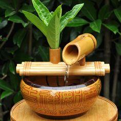 Bambus Balkon Deko selber machen Brunnen anlegen Ideen