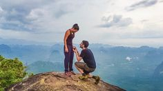He asked her to marry him on top of a mountain, and it's so stunning.