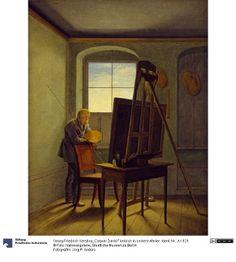 Georg Friedrich Kersting, Caspar David Friedrich in seinem Atelier (Dresden, ca. 1812, Alte Nationalgalerie, Berlin).