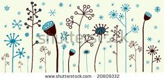 Cute winter flowers with snowflakes!  Visit my portfolio for a huge collection of hand-drawn doodles. by Elise Gravel , via ShutterStock