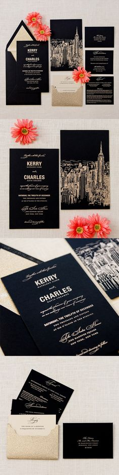 Cityscape #wedding #invitation by @engagingpapers. Having a #chic city wedding?…