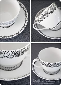 Handmålad kopp och fat – Handpainted cup and saucer (Craft & Creativity) Sharpie Crafts, Sharpie Art, Diy Crafts, Sharpies, Sharpie Plates, Diy Becher, Porcelain Pens, Painted Mugs, Hand Painted