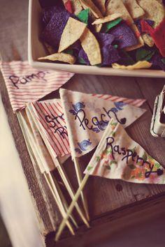 Fun flag decor ideas for a rustic wedding -- Pie Labels! {Renaissance Sudios Photography}