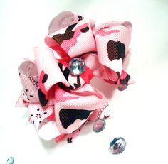 irls Boutique Layered Hair Bow - Cowgirl Country - Pink, Camo, Paisley, Bandanna