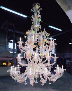 Lampadario Rezzonico in vetro di Murano a 28 luci sontuoso
