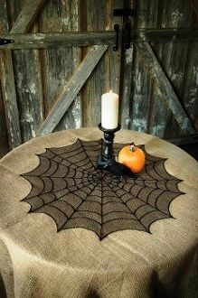Spooky spider web table topper! #MadeinUSA found at Norton's U.S.A!