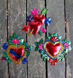 Mexican Tin Milagros Ornaments - SOLD SEPERATELY - Heart Arrow Banner  Folk Art
