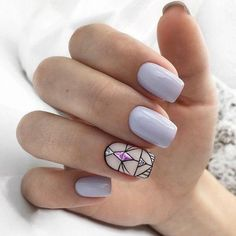 pastel nails with statement art deco pattern and pink gem - Ongles 02 Nail Design Stiletto, Nail Design Glitter, Love Nails, Pretty Nails, My Nails, Pastel Nails, Acrylic Nails, Art Deco Nails, Geometric Nail Art