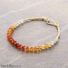 Mexican fire opal bracelet, Hill Tribe gold beaded bracelet, primitive cut ombre opal, Karen Hill Tribe beads, skinny layering bracelet by NanandBiz