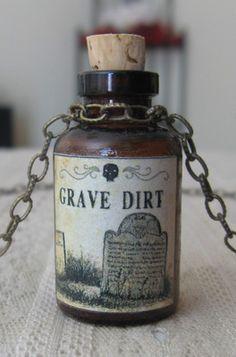 Grave Dirt Potion Poison Bottle Necklace Pendant Apothecary Vial