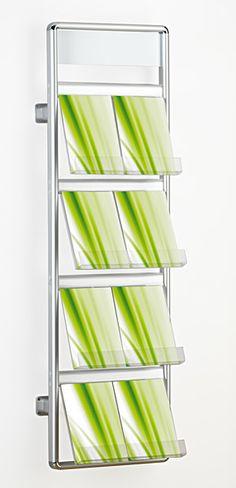 wall mounted literature rack and brochure holder www.discountdisplays.co.uk