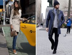 Paula and Sean on their way to work on a busy New York by armani