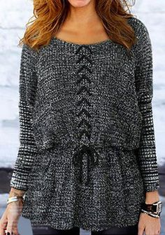 Grey and Black Tunic Sweater