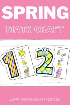 These Spring number craft activities are perfect for little fingers. Easy to cut and assemble, students will love tracing their finger over the number and using some one-to-one correlation to demonstrate their understanding of quantities. When completed these make a wonderful learning wall display in any classroom. #techteacherpto3 #math #craft #activities