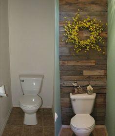 recycling pallets wooden wall bathroom :: FineCraftGuild.com