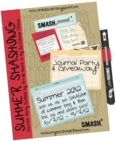 My So-Called Chaos and Art @ Home are hosting a Summer Smashing Journal Party and Giveaway! If you like Smash Books or Art Journals please come participate! It's going to be fun!