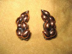 Vintage Renoir Copper Earrings Clip by DivineMissMVintage on Etsy